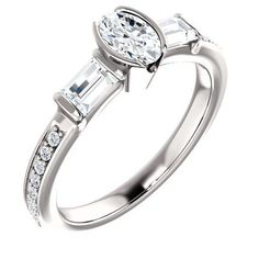 0.50 Ct Oval Ring 14k White Gold