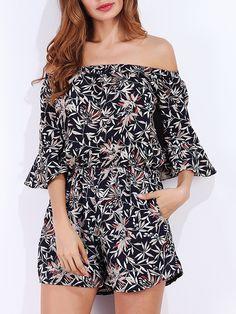 54736522fbe2 Women Bohemian Floral Printed Off Shoulder Short Jumpsuits.  PlaysuitsJumpsuitsVintage ...