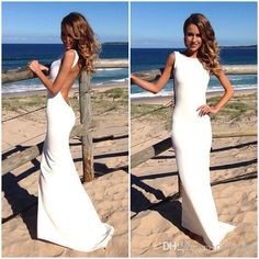 Free shipping, $128.8/Piece:buy wholesale LK 2014 Backless Vintage Beach Wedding Dresses Bateau Neckline White Summer Wedding Gowns Sexy Evening Dresses Spandex Tight Maxi Dresses from DHgate.com,get worldwide delivery and buyer protection service.