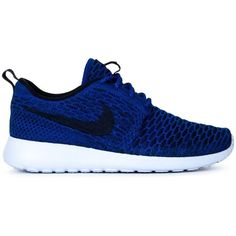 Nike Roshe One Flyknit Sneakers ($113) ❤ liked on Polyvore featuring shoes, sneakers, blue, blue shoes, nike footwear, nike, laced up shoes and laced shoes