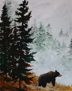 Bear Paintings, Cute Canvas Paintings, Bob Ross Paintings, Canvas Wall Art, Dyi Painting, Acrylic Painting Canvas, Group Art Projects, Different Forms Of Art, Bear Art
