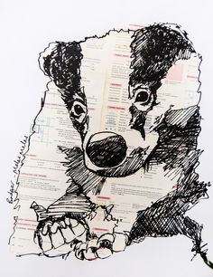 Badger screenprint with vintage map collage, Collage / mixed media by Jenny McCabe | Artfinder