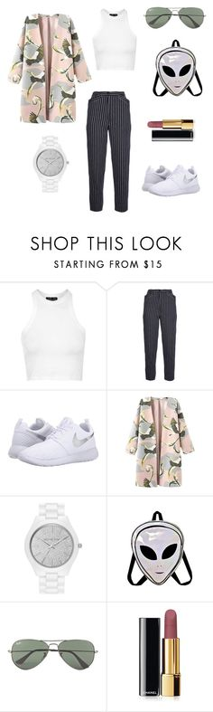 """""""been dead, done dat"""" by her-aesthetic on Polyvore featuring Topshop, Kenzo, NIKE, MICHAEL Michael Kors, Ray-Ban, Chanel, women's clothing, women's fashion, women and female"""