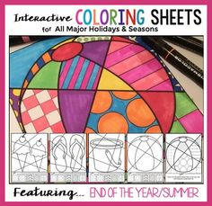 "A big collection of interactive ""Pop Art"" coloring sheets featuring end of the year images, as well as images for all the major holidays throughout the year. Kids absolutely love these!"