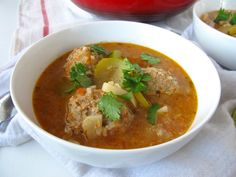 Albondigas Soup (Mexican turkey and rice meatball soup) Meatballs And Rice, Turkey Meatballs, Mexican Food Recipes, Soup Recipes, Ethnic Recipes, Dominican Food, Dominican Recipes, Albondigas Soup Recipe, Mexican Meatball Soup