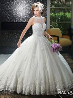 mary's bridal spring 2016 sweetheart illusion high neck sleeveless ball gown wedding dress (6404) heavily beaded bodice keyhole corset back royal train detachable romantic mv