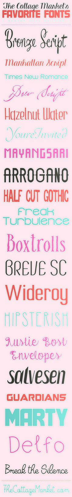 Free Fonts The Cottage Market August 2014 Favorites - The Cottage Market #FreeFonts, #FreeFontCollection, #FunFreeFonts
