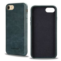 Jisoncase iPhone 7 Case Handmade Genuine Leather Back Case Slim Snug Fit Hard Protective Cover Snap on Case for iPhone 7 (2016) 4.7-inch Soft Interior Midnight Blue JS-IP7-02A40