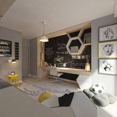 Mieszkanie dla piłkarza - Living Box Modern Boys Rooms, Cool Kids Rooms, Kids Room Design, Home Office Design, Teenage Room Designs, Kids Room Organization, Boy Room, Room Interior, Kids Bedroom