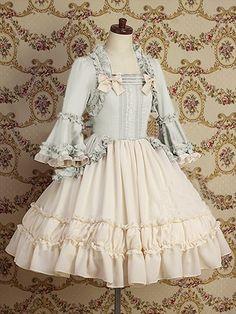 Light-blue Classic Flower Shape Designed Large Cuffs Lolita Dress