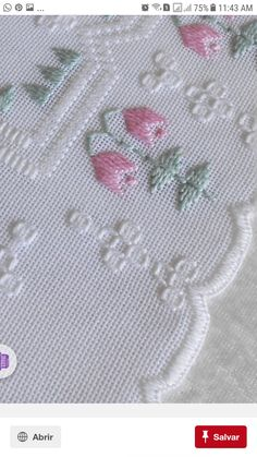 Lovely / x cross stitch embroidered tablecloth in g Hardanger Embroidery, Embroidery Patterns, Hand Embroidery, Swedish Weaving Patterns, Floral Tablecloth, Bargello, Drawn Thread, Satin Stitch, Cross Stitch Flowers