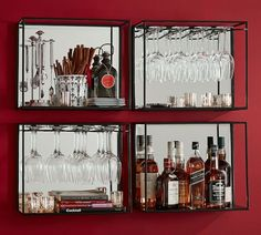 MIRRORED ENTERTAINING SHELVES