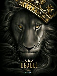 Black and grey lion with gold crown. X OGABEL Poster Lion Wallpaper, Animal Wallpaper, Wallpaper Backgrounds, Og Abel Art, Animals And Pets, Cute Animals, Lion Painting, Lion Pictures, Leo Lion