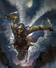m Rogue Arcane Trickster Leather Armor Cloak Dual Dagger Night full moon flying med Fantasy Warrior, Fantasy Male, Fantasy Rpg, Dark Fantasy Art, Fantasy Artwork, Ninja Kunst, Arte Ninja, Ninja Art, Dungeons And Dragons Characters