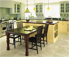 kitchen islands with table seating | Off-White Kitchen with Marble Island/Table - Kitchens Forum ...