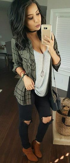 #fall #outfits women's grey checked cardigan and grey plunging neckline tank top and black distressed jeans