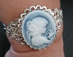 Gorgeous Girl w Bird CAMEO Cuff Bracelet-- 20-25% off Jewelry SALE by altcollect. Explore more products on http://altcollect.etsy.com