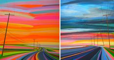 Deeply influenced by a childhood spent growing up on Long Beach in Sag Harbor, N.Y., artist Grant Haffner tries to capture the color and feeling of sunsets burnt into his memories. Haffner works primarily with a mixture of acrylic, marker, pencil and paint pen on wood panels to create vibrant neon d