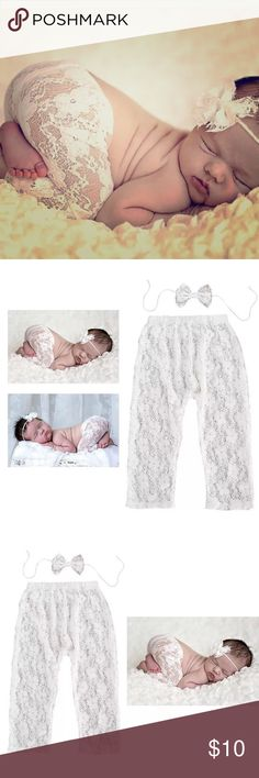 NEWBORN BABY BOUTIQUE VINTAGE WHITE LACE PHOTO PRO Very soft and light-weight, so your beautiful miracle will stay asleep during her photo shoot!  Will fit Newborns to 9 months. Vintage white lace baby leggings & matching Headband bow. Dream BiG little Ones Matching Sets