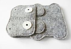 Hippo felt phone sleeve case fun animal door InspirationalGecko