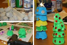 Julgran av äggkartong Crafts For Kids, Children, Christmas, Tips, Crafts For Toddlers, Yule, Boys, Navidad, Kids Arts And Crafts