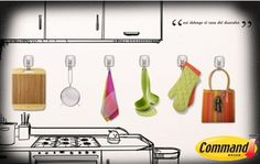 Organiza tus utensilios de cocina con los ganchos Command.