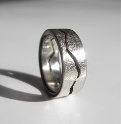 Storm Texture Custom Mountain Range Ring Handmade by BentMLjewelry, $320.00
