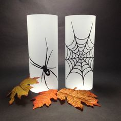Halloween Paper Lanterns - Set of 2 DIY Luminaries  Spider and Web Silhouette - Black and white party decorations by MinksPaperie, $11.00