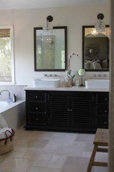 bathrooms - Cleveland Art Sconce Kraus Vessel Sink flea marker black mirrors gold leaf Kohler wall-mount faucets ebony stained double bathroom vanity orchid tumbled marble backsplash
