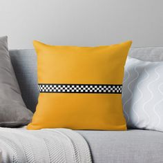 """""""NY Taxi Cab Yellow with Black and White Check Stripe"""" Throw Pillow by podartist 