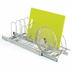 Chrome Roll-Out Lid Holder    Our Roll-Out Lid Holder is the perfect solution for organizing and storing pan lids and trays. It holds up to 18 pan lids plus trays, baking sheets and cutting boards. It's designed to glide smoothly, even under the heaviest loads. The beautiful commercial chromed steel construction means a lifetime of trouble-free use.