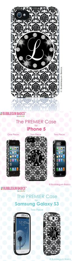 Black Damask Bling Circle - 1 Letter Initials #Monogram #Personalized #CUSTOM #iPhone 5 4s 4 Samsung Galaxy s3 siii Phone #Case by  iselltshirts (https://www.etsy.com/listing/110581898/custom-iphone-5-4s-4-samsung-galaxy-s3?ref=shop_home_active_1)