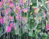 Dawn - Beautiful, Abstract, Original, Acrylic, Canvas, Painting, Wall Art, Gold Leaf, Gold, Pink, Green, Silver, Glitter, Contemporary, Art #abstract #bestofEtsy #handmade #etsy #fineart #painting #art #original