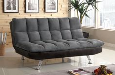 CM2905GP|TIGRAYContemporary StyleConverts into BedMicrofi ber Seat w/LeatheretteExtra Support LegChrome Legs GrayGray elephant skin microfi ber provides extra comfort on this futon sofa, while the base is wrapped leatherette. Futon Sofa Sale for $275