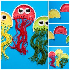 Paper plate jellyfish craft for kids. Ocean study unit craft.