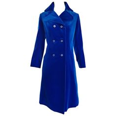 1960s Surrey Classics Cerulean Royal Blue Velvet Double Breasted Jacket Coat  | From a collection of rare vintage jackets at https://www.1stdibs.com/fashion/clothing/jackets/