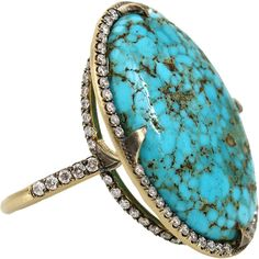 Sylva & Cie Kingman Turquoise Diamond Ring ($7,750) ❤ liked on Polyvore featuring jewelry, rings, accessories, anel, anillos, blue turquoise ring, 18 karat gold ring, 18k diamond ring, green turquoise jewelry and turquoise ring