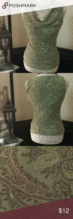 SALE Paisley Tank Gorgeous mossy green paisley tank. Never worn. Evan Picone Tops Tank Tops