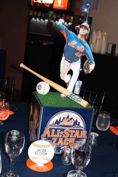 Mets Themed Centerpiece Mets Themed Bar Mitzvah Centerpiece with Custom Logo & Player Cutouts