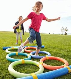 Pool noodles for obstacle course - for Wipe Out party #picnic #summerfun