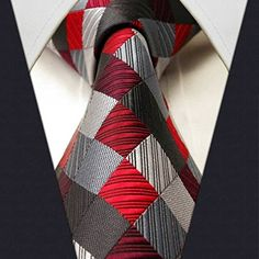 Shlax & Wing Extra Long Size tie F2 Checked Red Gray Silver Mens Neckties Tie 100% Silk Jacquard Woven Brand New