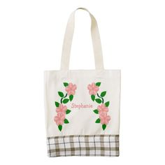 #Pink #Flowers Design Just Add Name Zazzle HEART #Tote #Bag