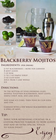 This blackberry Mojito recipe is a refreshing and colorful alcoholic beverage guests will love. Stock your wedding reception bar with fresh ingredients listed. Serve your wedding cocktails in frosted 9 ounce cups personalized with a monogram or wedding design, the bride and groom's name and wedding date to wow guests and add an extra special touch to your wedding celebration. The personalized cups can be ordered at http://myweddingreceptionideas.com/9_oz_personalized_frosted_plastic_cups.asp