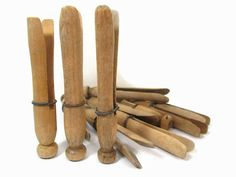 8 Vintage Wooden Clothespins with Wire / Laundry Pins / Wood