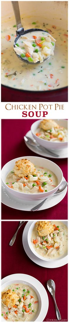 Chicken Pot Pie Soup with Easy Parmesan Drop Biscuits - this soup is so hearty and comforting and it tastes just like chicken pot pie!