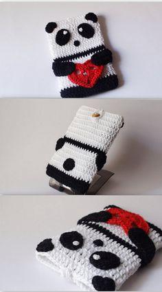PANDA crochet Phone cozy- HelenKurtidu $16.87 USD https://www.etsy.com/listing/219251995/panda-crochet-phone-cozyvalentines-day?ref=market