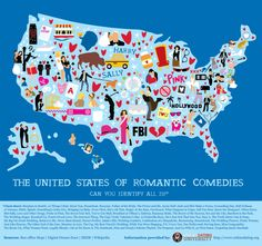 The map has been marked according to the state in which each of 73 romantic comedies was filmed. How many movies can you name based on the clue given at each location?