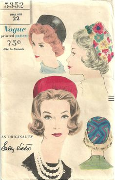 Vintage 60s Sewing Pattern Vogue 5352 Pillbox by studioGpatterns, $20.50