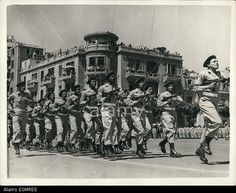 Egyptian Army commandos marching in double-time through Republic Square in Cairo at the parade in celebration of the evacuation of British occupation troops from Egypt, June prior to the Suez Crisis. October War, June, Yom Kippur, Old Egypt, Recent Events, Armies, National Guard, Present Day, Cairo