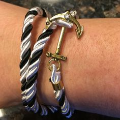 Braided anchor wrap bracelet with Crystals New braided anchor bracelet wrap with Crystal and anchor black and white satin Accessories